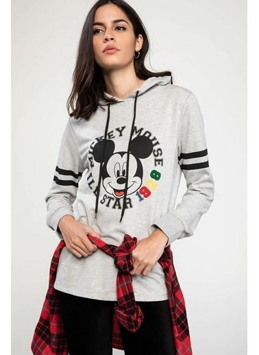 DeFacto Kapüşonlu Şerit Detaylı Mickey Mouse Baskılı Lisanslı Sweatshirt Gri